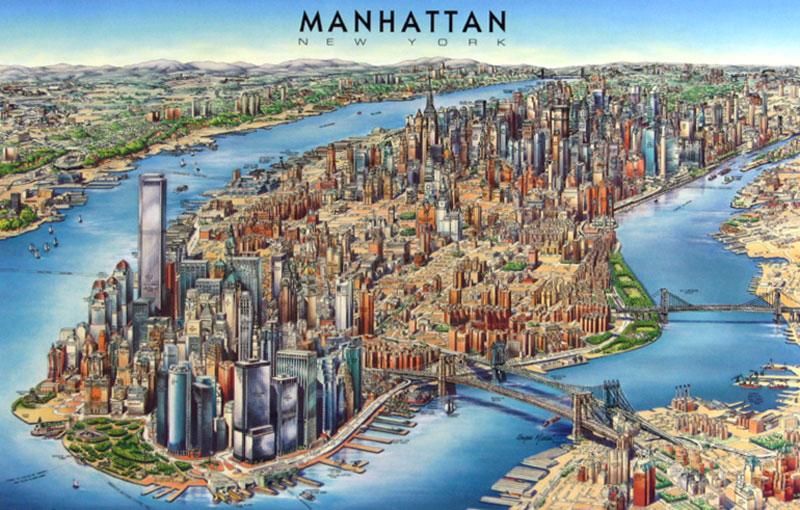 3d panoramic map of manhattan manhattan 3d panoramic map
