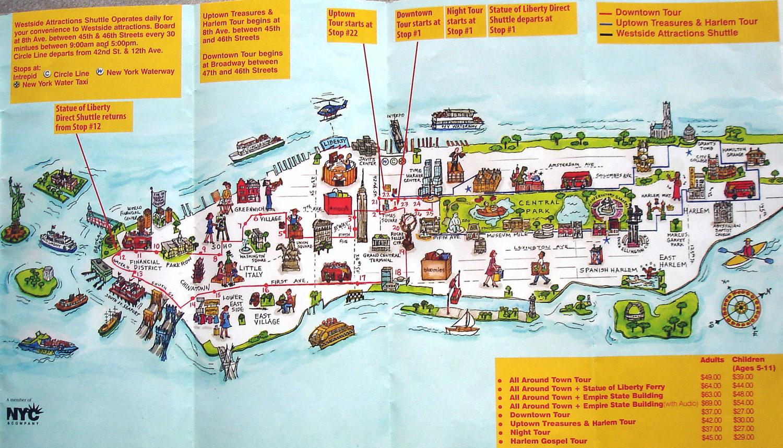 Manhattan Nyc Travel Illustrated Map Manhattan Nyc Travel