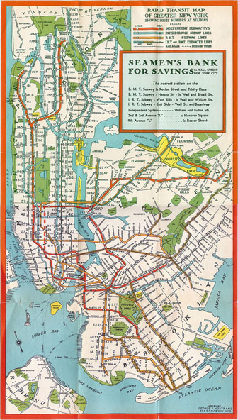 Manhattan, New York subway map - 1930. Subway map of Manhattan, New York - 1930.