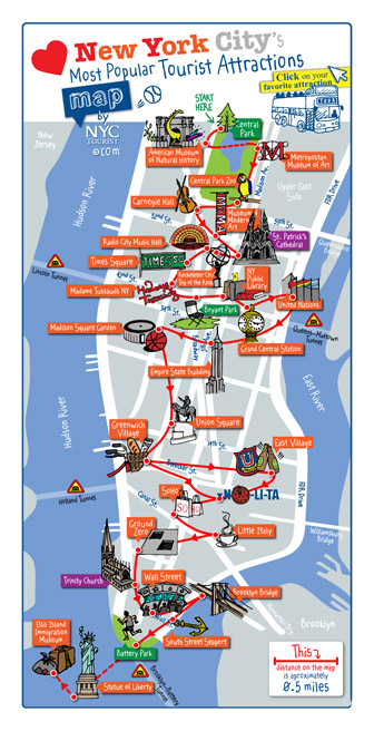 Detailed map of most popular tourist attractions of Manhattan, NYC.