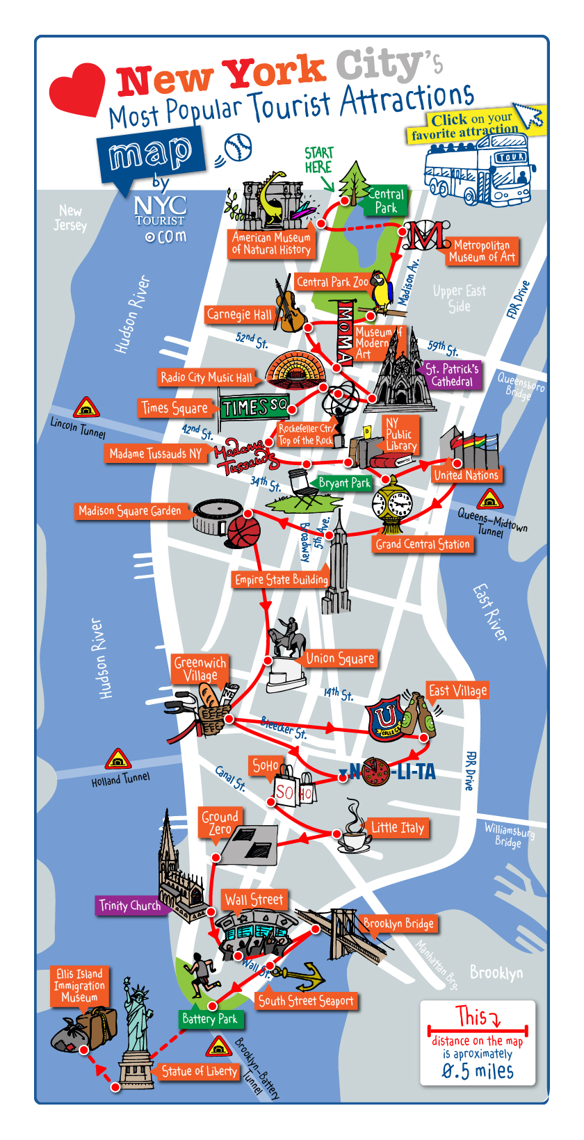 Detailed Map Of New York City.Detailed Map Of Most Popular Tourist Attractions Of Manhattan Nyc