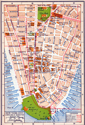 Detailed old road map of New York city of lower Manhattan - 1916.