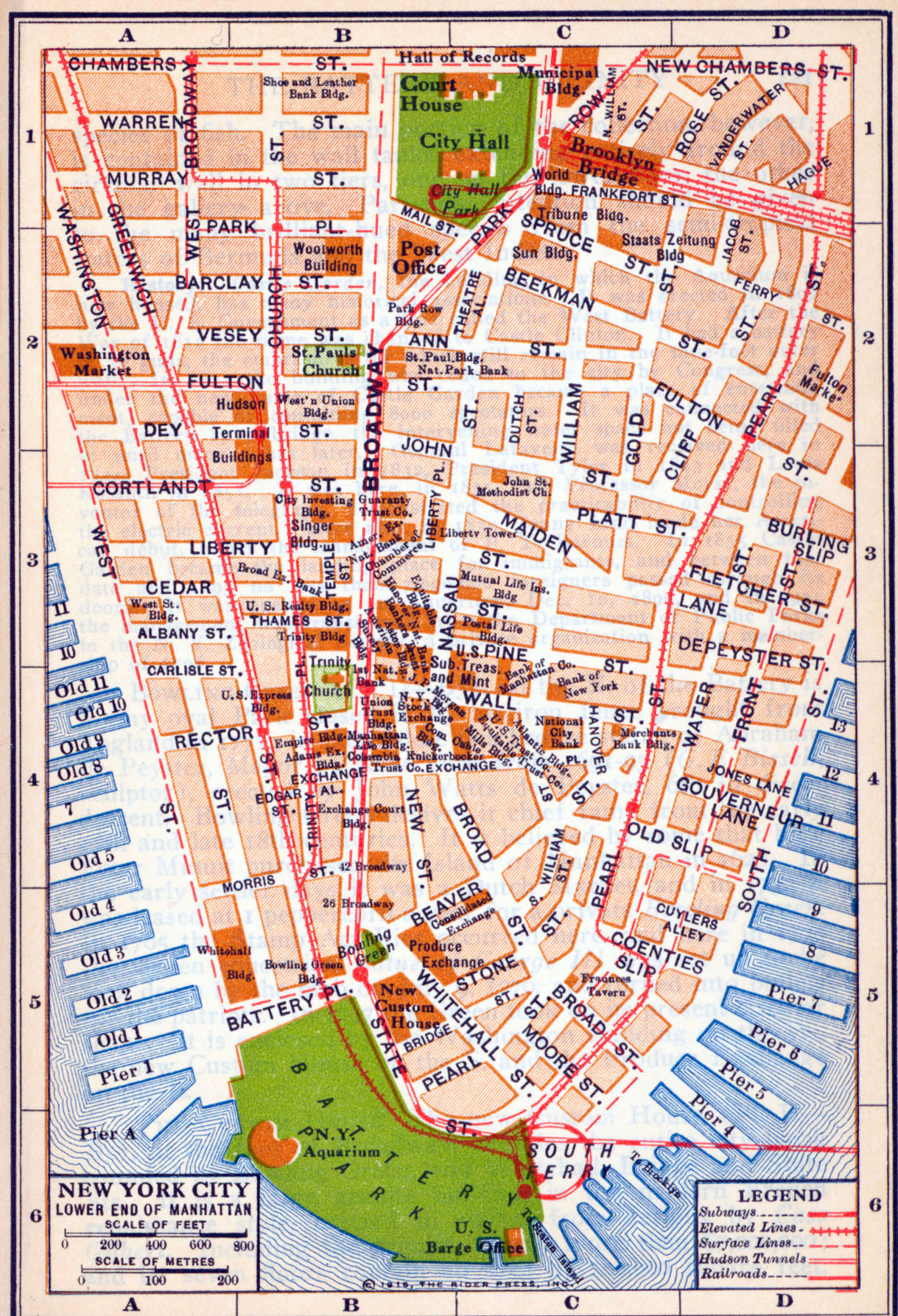 detailed old road map of new york city of lower manhattan 1916