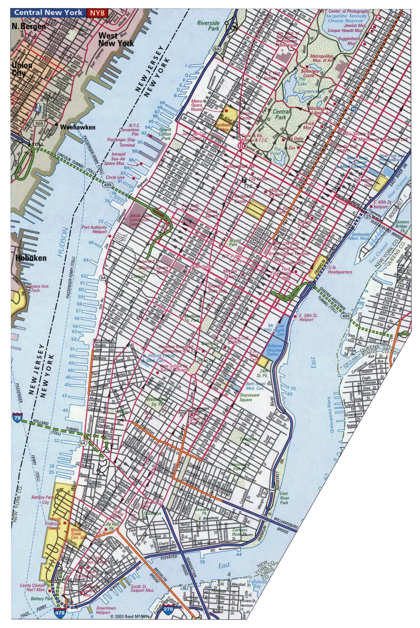 Detailed road map of Manhattan NYC Manhattan NYC detailed road