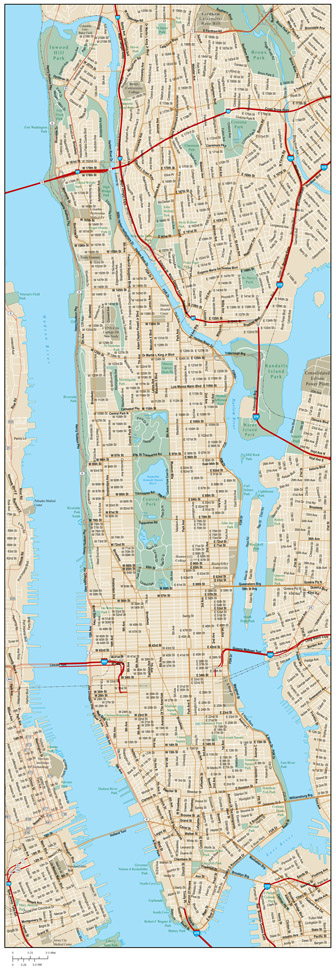 Detailed road map of Manhattan with street names. Manhattan detailed road map with street names.