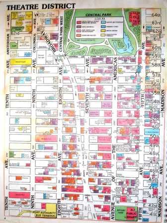 Detailed theatre district map of Manhattan. Manhattan detailed theatre district map.