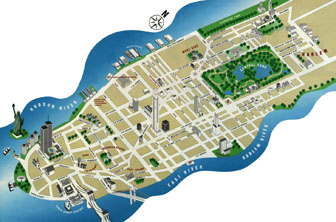 Detailed tourist panoramic map of Manhattan. Manhattan detailed tourist panoramic map.