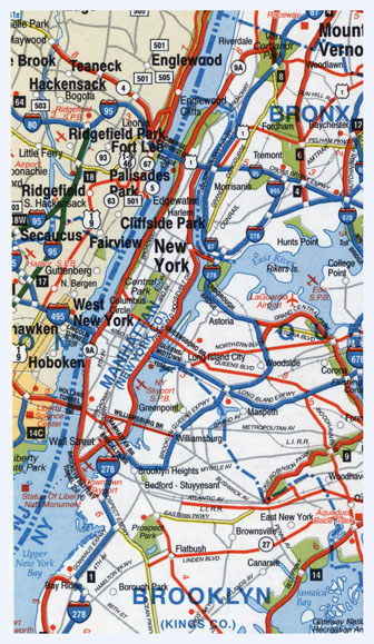 Highways map of Manhattan and surrounding area. Manhattan and surrounding area highways map.