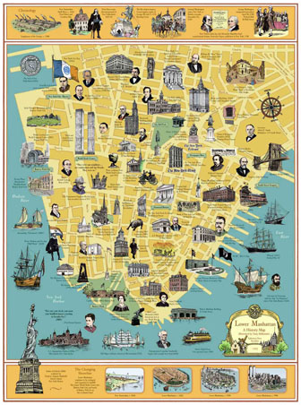 History map of lower Manhattan (NYC). Lower Manhattan, NYC history map.