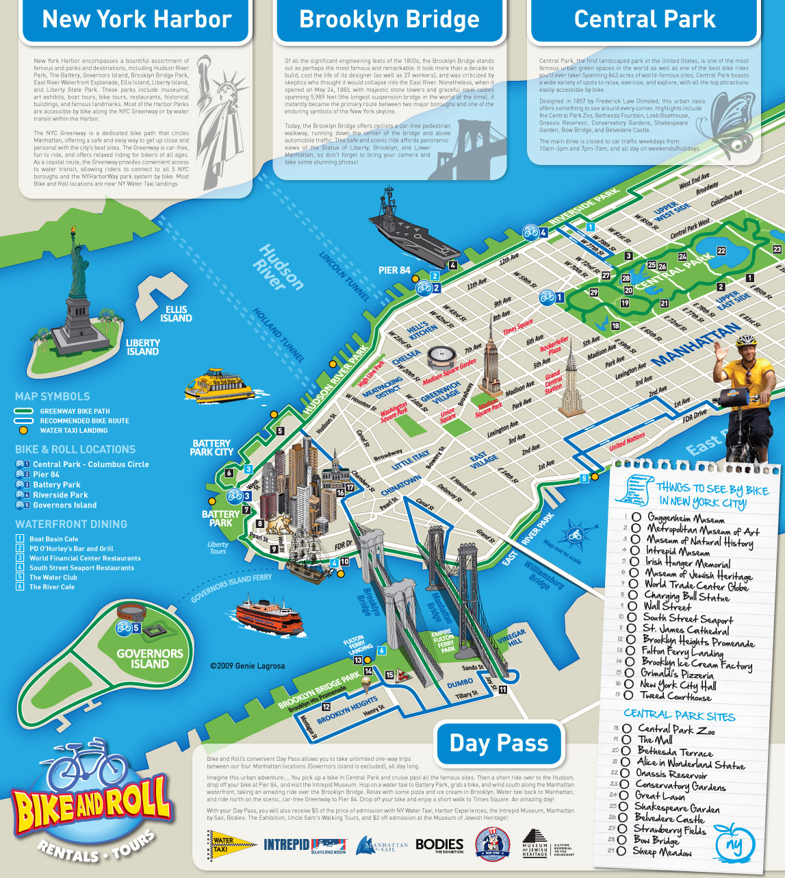 Large detailed alternative new york city tourist map new for Main attractions in new york city