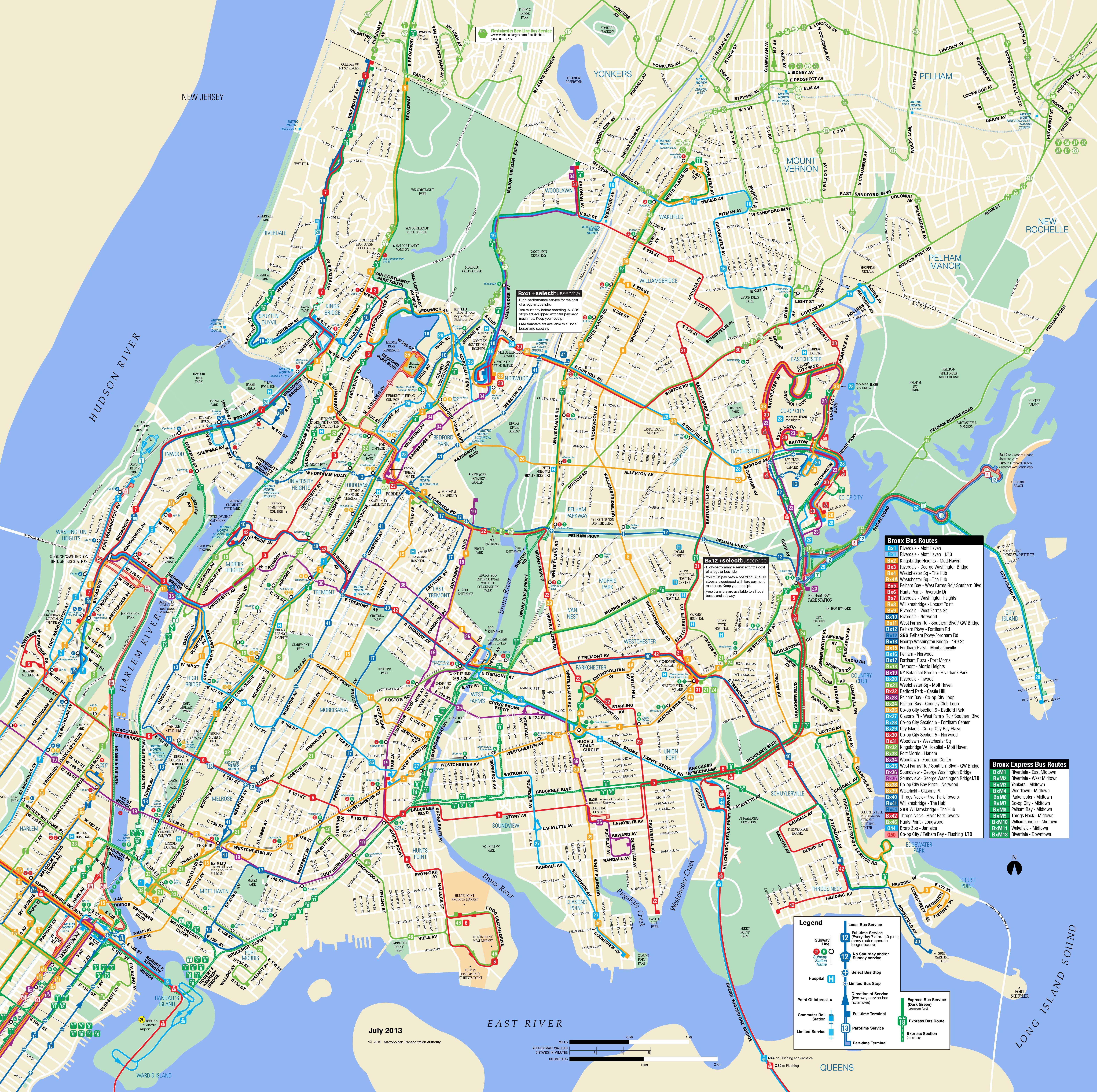 Large Detailed Bronx Bus Map Nyc Bronx Large Detailed Bus Map