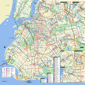 Large detailed Brooklyn bus map, NYC. Brooklyn large detailed bus map.