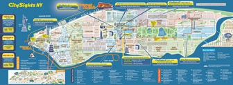 Large detailed city sights map of Manhattan, New York city.