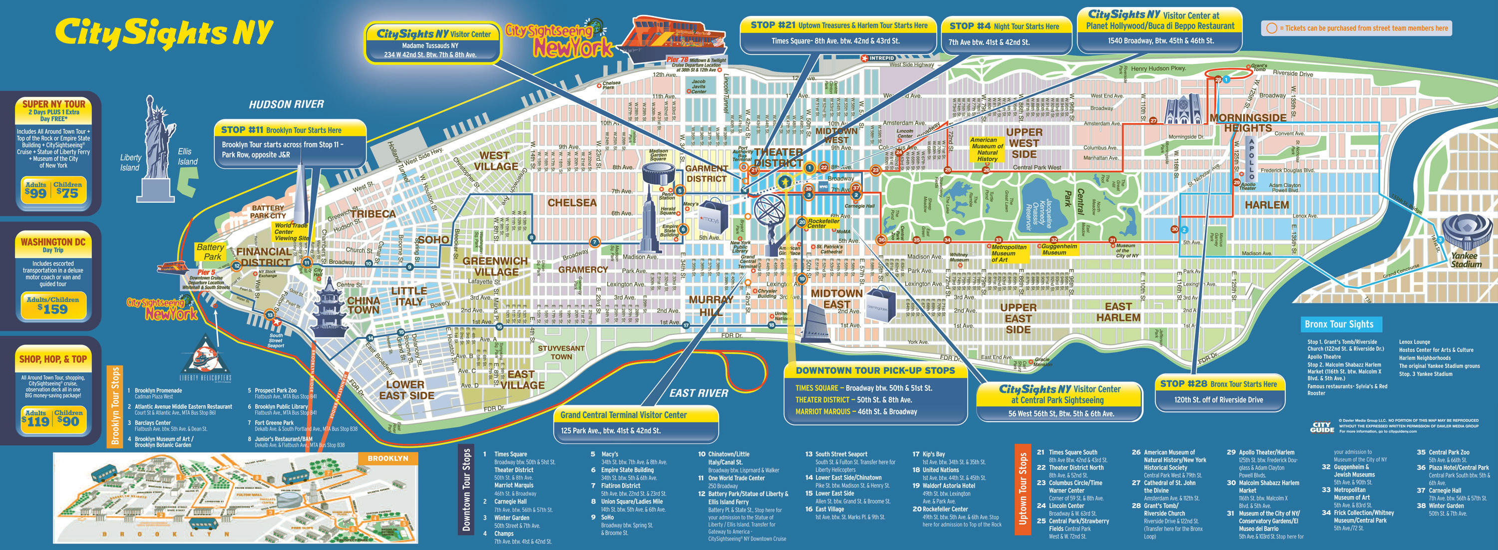 Large Detailed City Sights Map Of Manhattan New York City NYmap - Midtown new york map