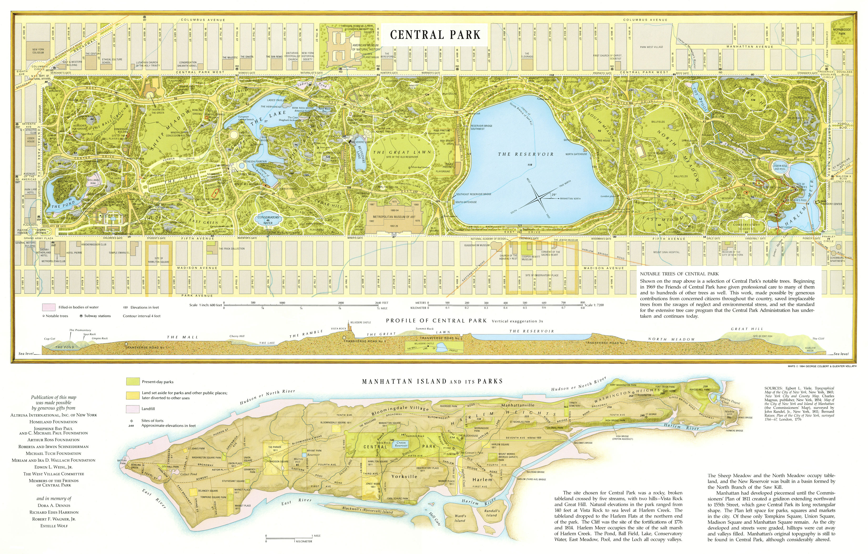 Large detailed map of Central Park, Manhattan, NYC. Central Park ...