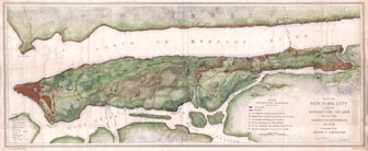 Large detailed map of New York city and of Manhattan island with the American Defences in - 1776.