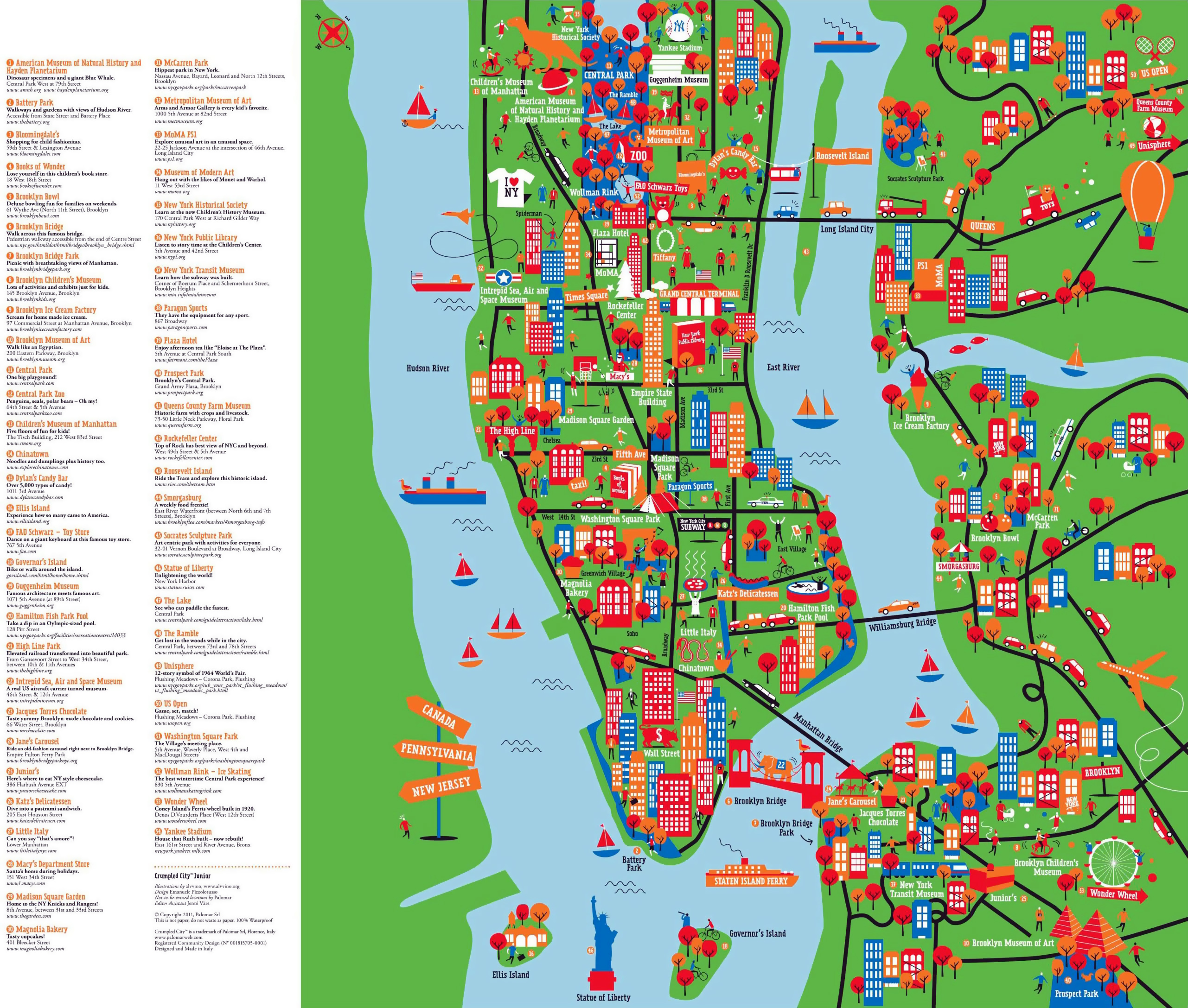 Large detailed New York tourist attractions map New York large – Manhattan Map Tourist