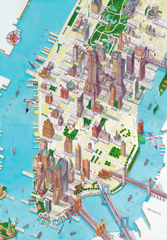 Large detailed panoramic drawing map of lower Manhattan, NYC.