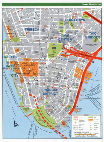Large detailed road map of Lower Manhattan (NYC). Lower Manhattan large detailed road map.