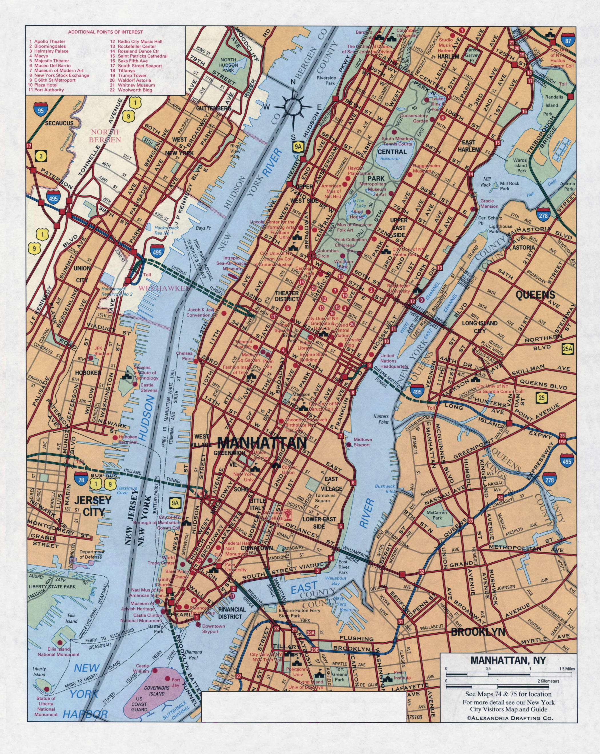 large detailed road map of manhattan nyc manhattan nyc large detailed road map