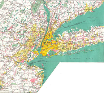 Large detailed road map of New York city and its environs.