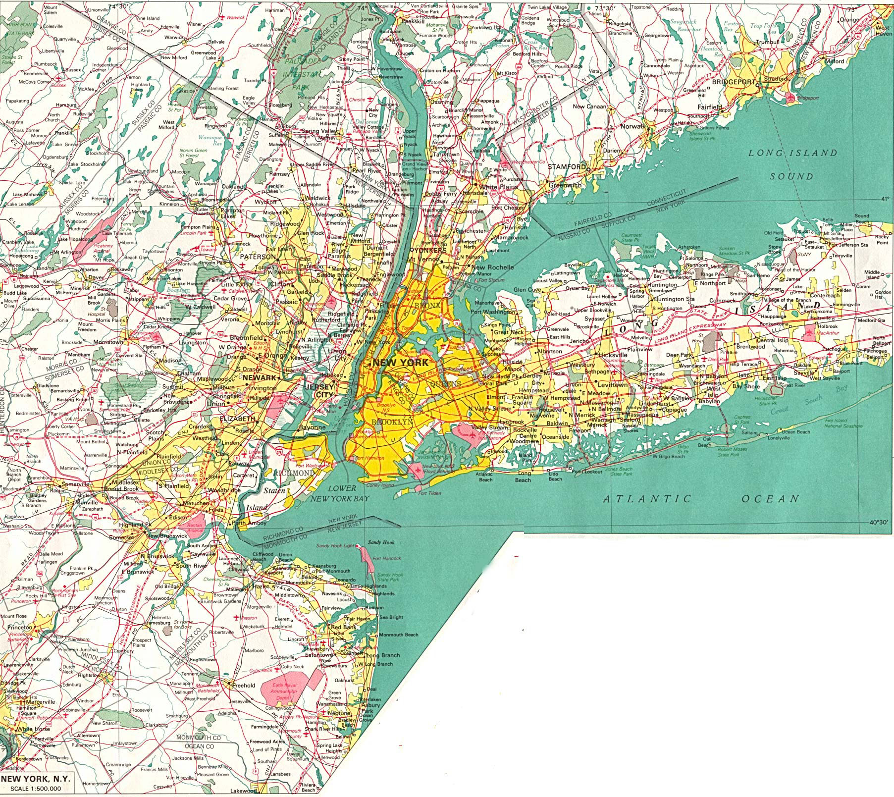 Large Detailed Road Map Of New York City And Its Environs NYmap - New york state map with cities
