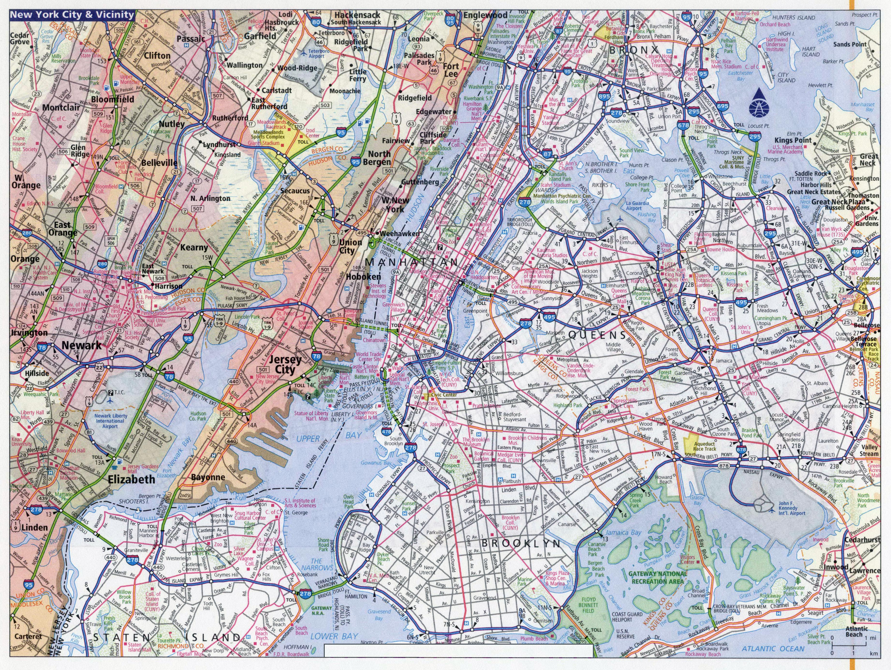 Large Detailed Road Map Of New York City New York City Large - Road map new york state