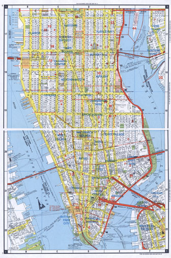 Large detailed road map of South Manhattan (NYC). South Manhattan large detailed road map.