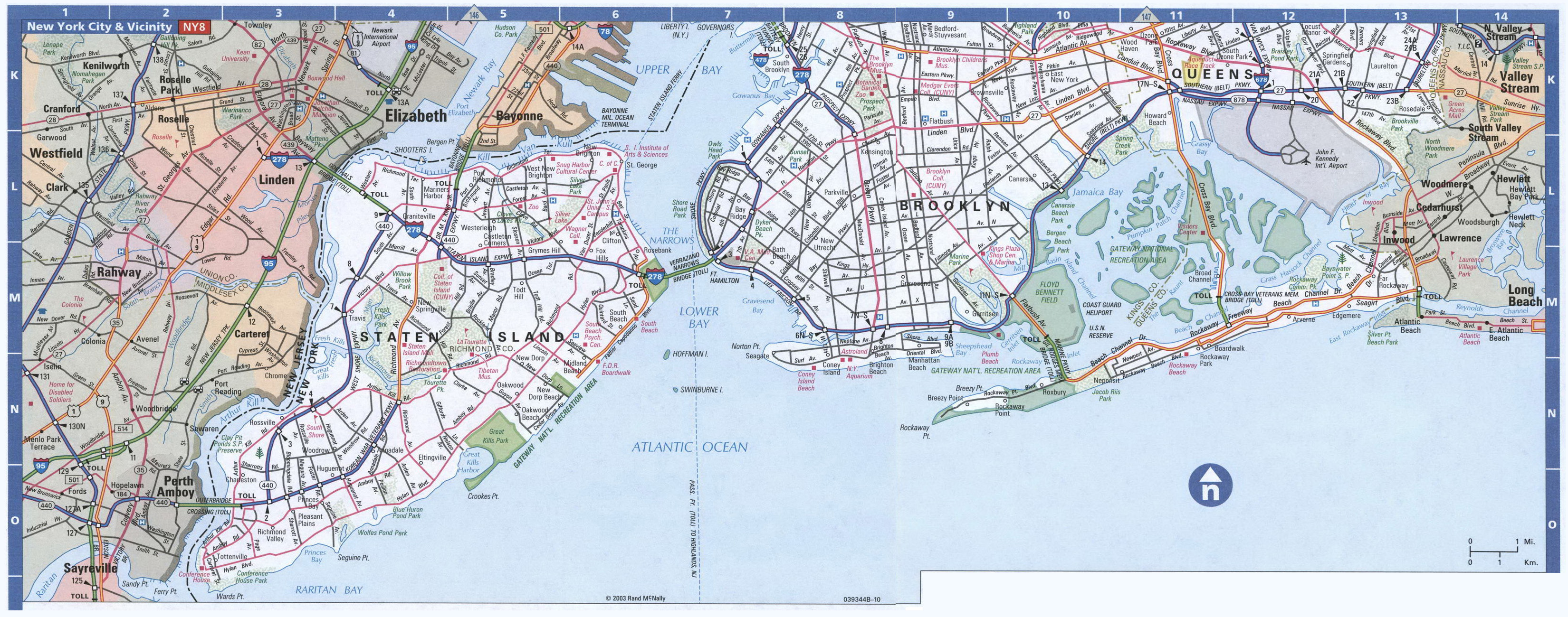 large detailed road map of staten island brooklyn and queens