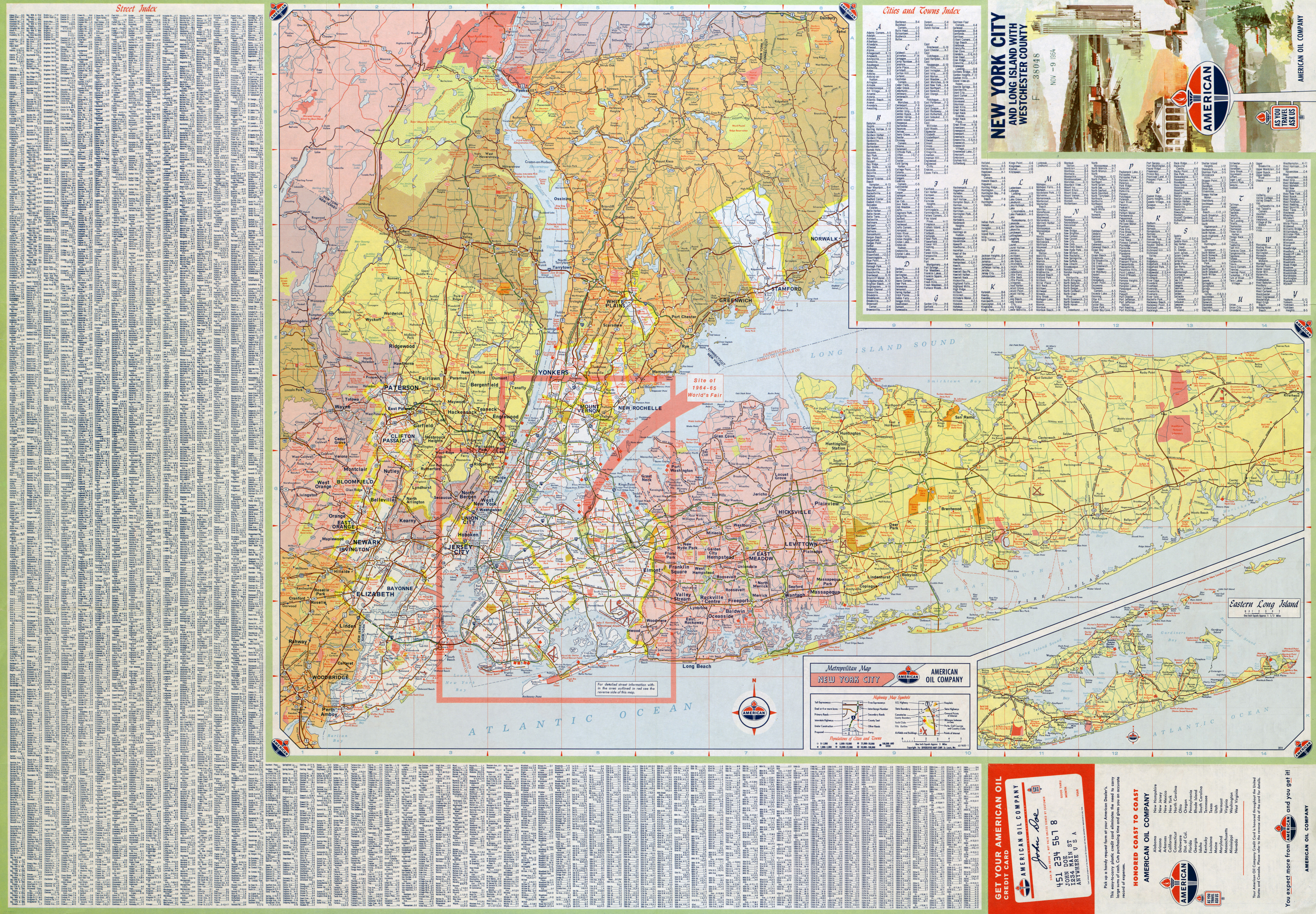 Large detailed roads and highways map of New York city USA and
