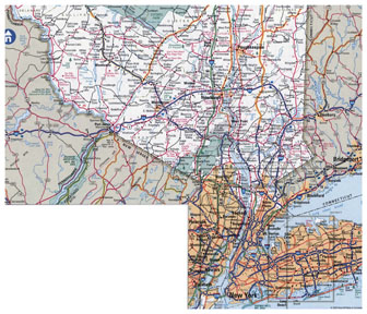 Large detailed roads and highways map of New York city and surrounding areas.