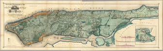 Large detailed sanitary and topographical old map of Manhattan - 1865.