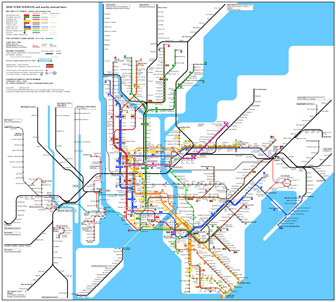 Large detailed subway map of New York city, USA. New York city large detailed subway map.