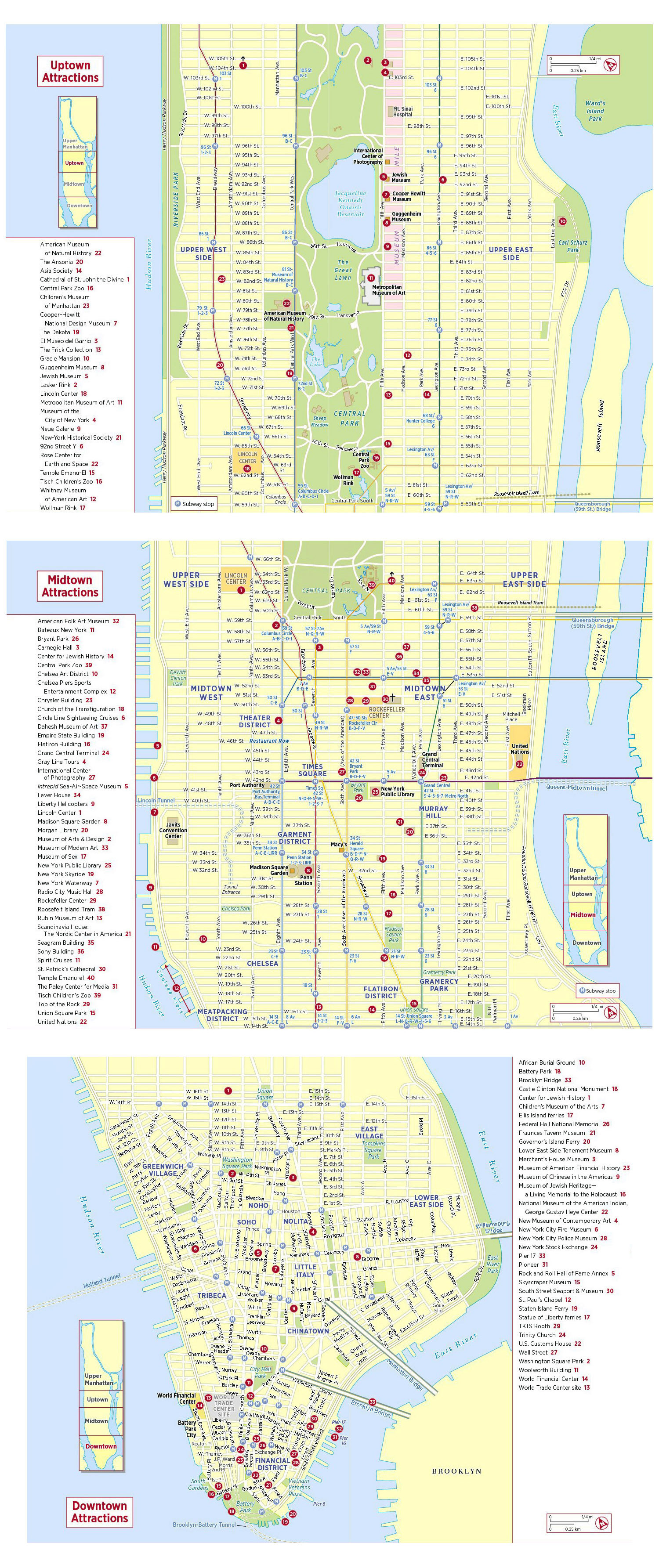 large detailed tourist attractions map of new york city new york city large detailed tourist