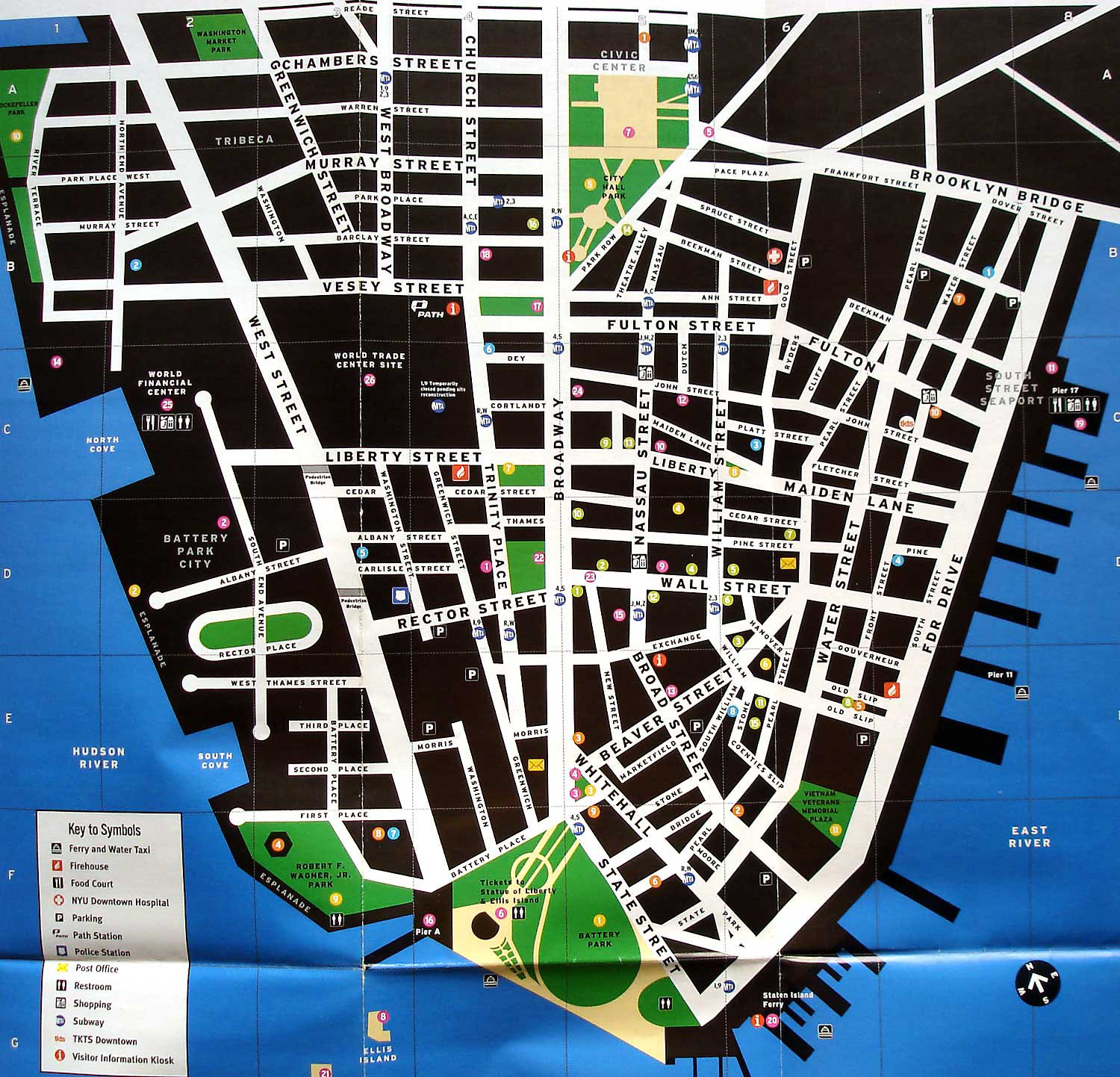 Large detailed tourist map of lower Manhattan Lower Manhattan – Tourist Map Of New York City