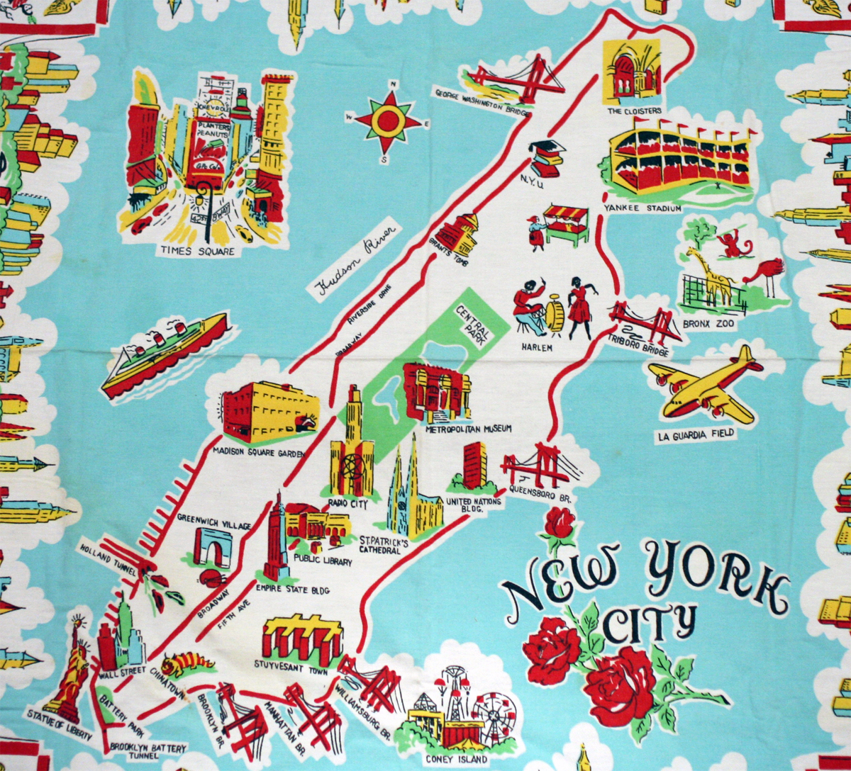 large illustrated tourist map of new york city new york city large illustrated tourist map
