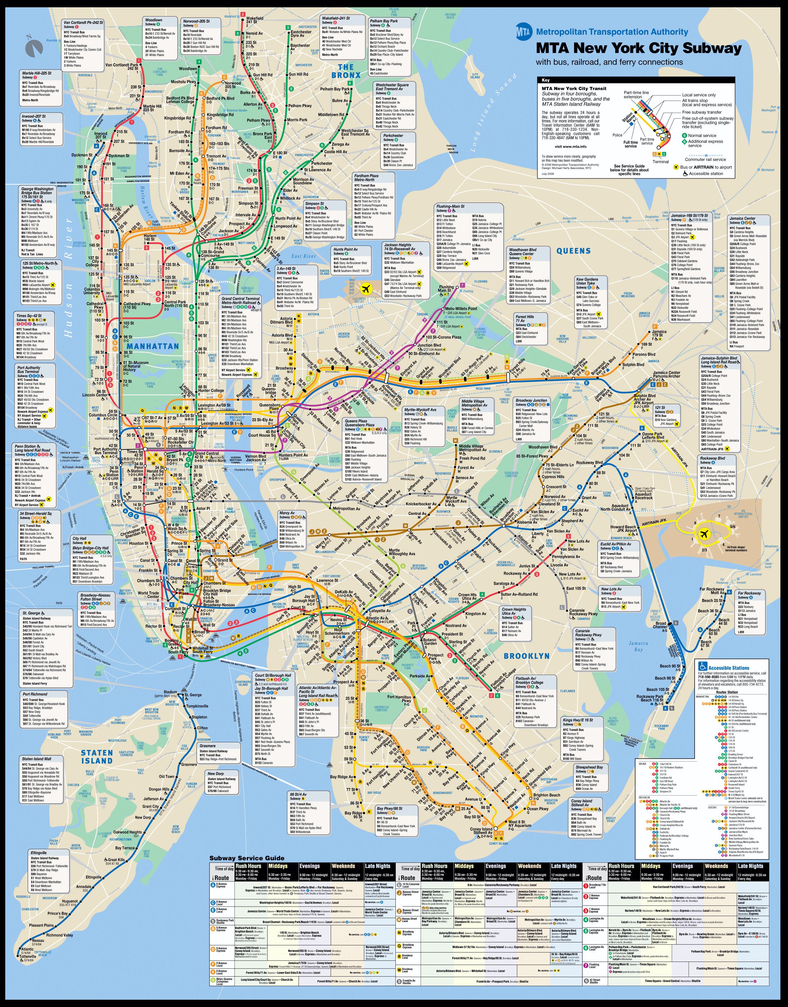 Large New York city subway metro map New York city large metro