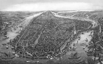 Large scale detailed old panoramic map of Manhattan, New York city - 1873.