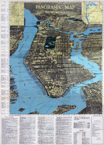 Large scale detailed panoramic map of Manhattam, New York city.