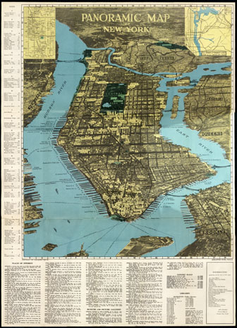 Large scale panoramic map of New York, NYC. New York (NYC) large scale panoramic map.
