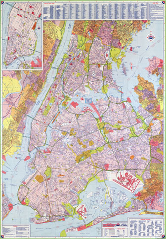 Large scale road map of New York city with street names.