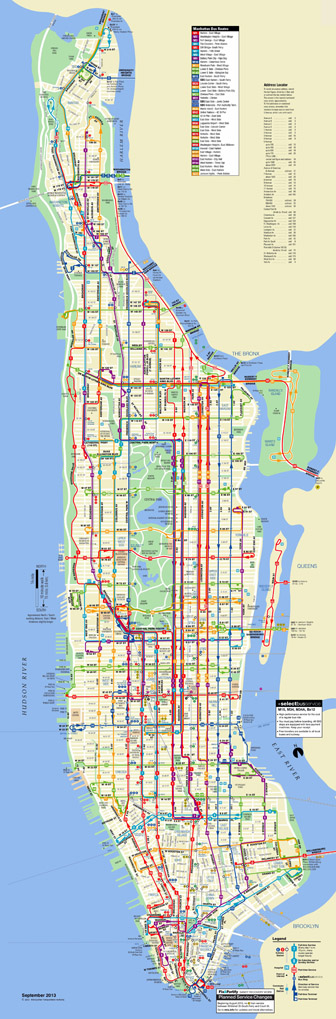 Large scaled detailed bus routes map of Manhattan, NYC.