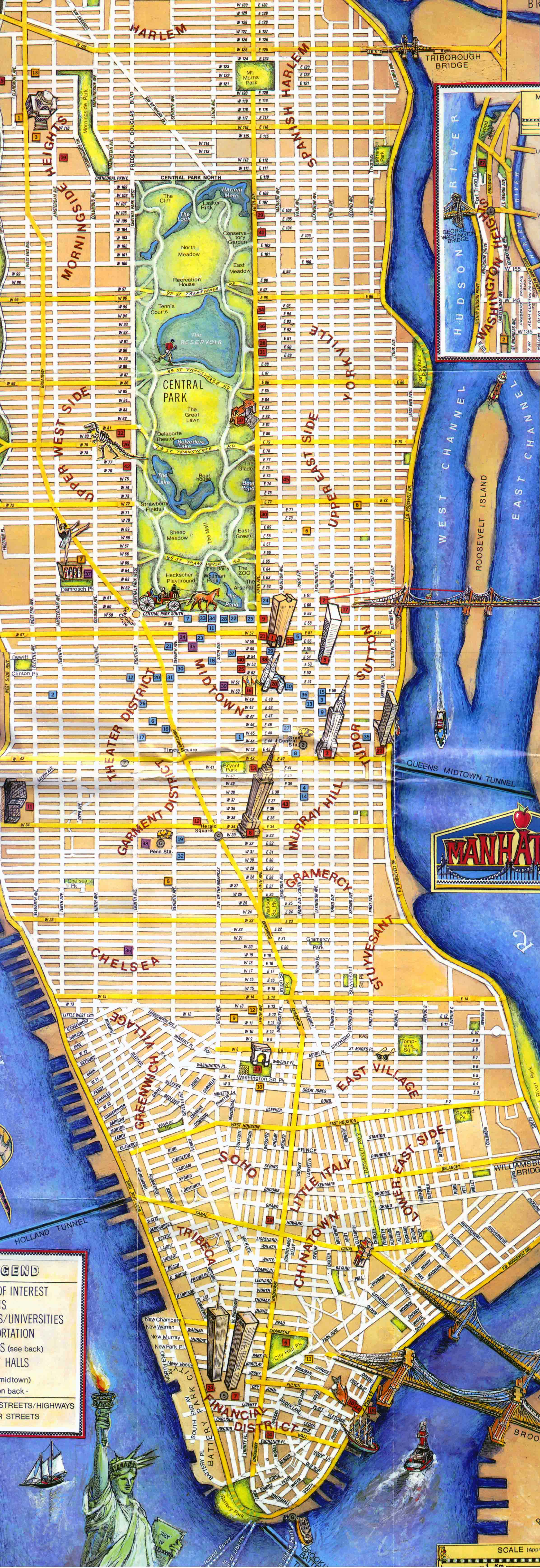 Large tourist map of Manhattan Manhattan large tourist map – New York Tourist Maps