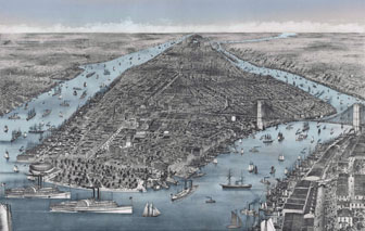 Large scale detailed old panoramic map of Manhattan, New York city - 1886.