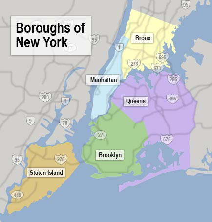 Map of NYC boroughs. New York city boroughs map.