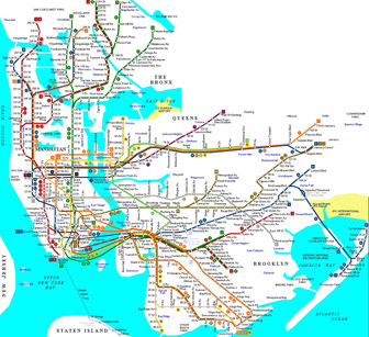 Map of NYC metro (mtr). New York city MTR (metro) map.
