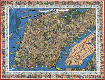 Perspective illustrated map of Manhattan. Manhattan perspective illustrated map.