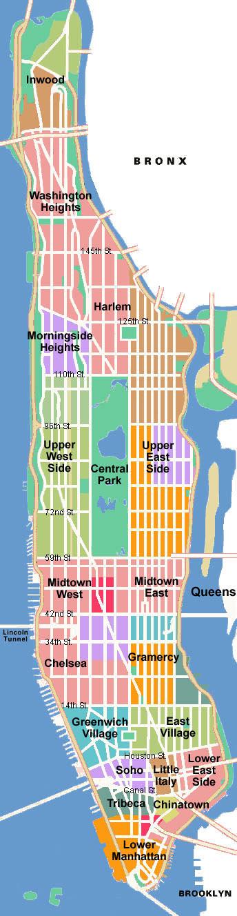 Schematic map of Manhattan. Manhattan schematic map | NYmap.net ...