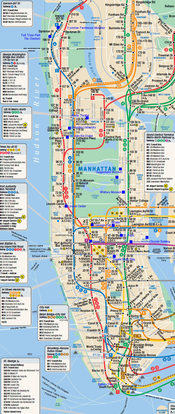 subway map of manhattan nyc manhattan new york city subway map