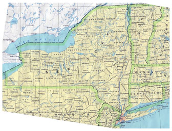 Detailed administrative map of New York state. New York state detailed administrative map.